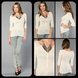 Free People Intimately Lurex Henley Thermal Top
